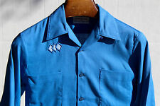 Duke of Hollywood S (14-14.5) Vintage 1950s-60s Gentleman's Royal Blue LS Shirt