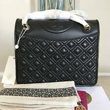 NWT Tory Burch Fleming Quilted Leather Medium Shoulder Bag - Black