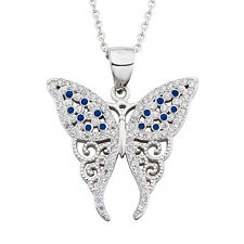 925 Sterling Silver Blue Sapphire&White Crystal CZ Princess Butterfly Necklace