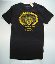 American Eagle Mens Black Flocked Indian Graphic T Shirt SMALL NWT