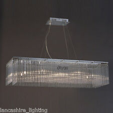 Stylish Ceiling Light With Suspended Glass Rods Rectangle Frame Zanthe IL30012