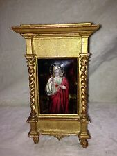 Antique 1880 French Gold Gilt Wooden Stand With Enameled Plaque Of Jesus Christ