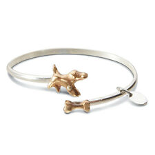 Twice the Charm Sterling Silver and Bronze Bracelet - Dog/Bone