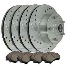 [FRONT & REAR] 4 DRILLED & SLOTTED BRAKE ROTORS & 8 SEMI-METALLIC PADS ATL043975