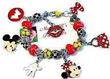 "Handmade Mickey Mouse Minnie Mouse Disney EUROPEAN Charm Bracelet, 8 1/4"" Adj"