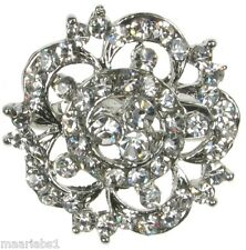 BROOCH SILVER DIAMANTE RHINESTONE FLOWER  PIN BRIDAL CAKE DECORATION NEW - UK