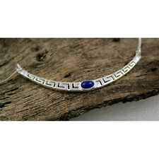 MEANDER - GREEK KEY -  Sterling Silver Necklace with Lapis