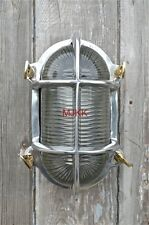 Superb large oval polished ship bulk head passageway wall light nautical lamp N