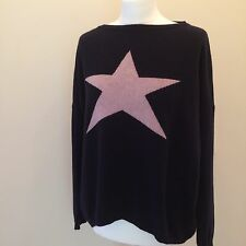 Navy Blue LUELLA DESIGNER CASHMERE JUMPER - ONE SIZE - NEW WITH TAGS - RRP £65+