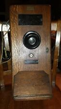 Antique Old Wood Box Wall Mount Leigh Electric Telephone gb 1317-du railroad?