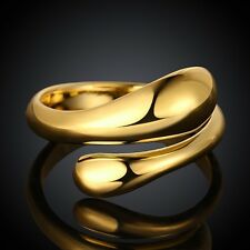 18K Yellow  Gold Plated  Water Drop Ring Jewelry *UK Seller