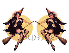Sexy Vintage Flying Witch Pinup Girl Vinyl Decal / Sticker #1076