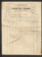 """LIMOGES (87) USINE de CHANDELLE & Dépot de FROMAGES """"H DELAGE & F MEYNIEUX"""" 1852"""
