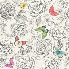Primrose Black and White Floral Wallpaper with Multi Butterflies by Holden 98830
