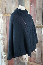H&M * Poncho Umhang Überwurf * Schwarz * Wolle Mohair Mischung * Zopfmuster * OS