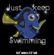 "8.5"" Dory (Finding Nemo) iron on rhinestone transfer bling patch applique"