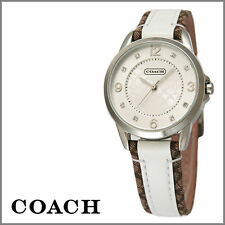 NWT Coach 1450161 Brown White Leather Silver SS Glitz CLASSIC Womens Watch W Box