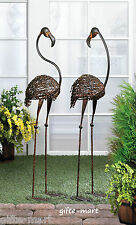 2 LARGE modern RECYCLED rusty metal wire ART Flamingo outdoor Stake yard Statue
