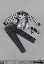 """ZY Toys 12"""" Figure Model Clothing Clothes 1/6 Scale plaid Shirt & Jeans Shoe Set"""