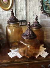 Beautiful Set 3 Amber Ribbed Glass Canisters Jars w/ Metal Lids