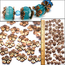 100% Solid COPPER 12mm Bali Style Fancy Flat 5Petal Daisy FLOWER Bead CAPS 80pc