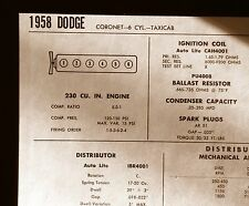 1958 Dodge Coronet Taxicab 230 CI L6 SUN Tune Up Chart Sheet Great Condition!
