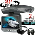 """3 Color 9"""" FLIP DOWN OVERHEAD CAR CD DVD MP3 PLAYER Drop Down Monitor Headsets"""