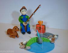Comestibles Pesca Pescador Con Perro azúcar Pasta decoración de pastel con Cumpleaños