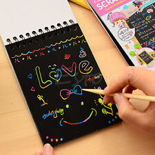 For Kids Diy Draw Scratch note Black cardboard Creative DIY Draw Sketch Notebook