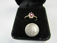 Natural RUBY and Diamonds 14k Yellow Gold Ring  Size 6 1/2 ESTATE  not scrap