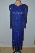 VTG Pam Imports Silk Sequin Evening Gown Royal Blue Size Medium Beaded Flapper
