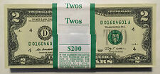 2009 $2 TWO DOLLARS CLEVELAND FRNs, 100 CONSECUTIVE & UNCIRCULATED BANKNOTES.
