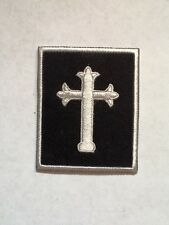 Iron On/ Sew On Embroidered Patch Badge Cross Holy Cross Church Faith Rectangle