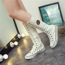 Chic Punk EMO Women Shoes Sneaker Lace Up Zip Boot Knee High Flat Long Boot LJ