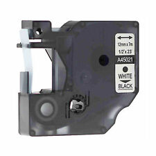 """White on Black Label manager Label Tape Compatible For DYMO D1 45021 12mm 0.47"""""""