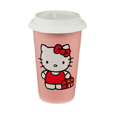 Hello Kitty Figure Face and Name 12 oz Double Wall Ceramic Travel Mug NEW UNUSED