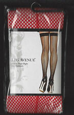 LEG AVENUE 9112 STOCKINGS RED FISHNET THIGH HIGHS WITH BACKSEAM NEW