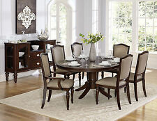 HUNTER - 7pcs Traditional Cherry Brown Round Oval Dining Room Table Chairs Set