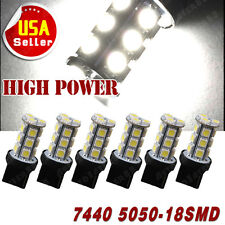 6X Pure White 7440 5050 18SMD LED 6000K Backup Reverse Light Bulbs W21W T20 7441