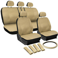 Faux Leather Beige Seat Cover for Ford Explorer w/Steering Wheel/Belt/Head Rests