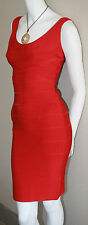 authentic Herve Leger Rio red sleeveless Maria cocktail body con dress new M