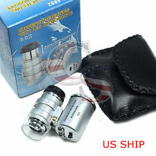 60x Handheld Pocket Microscope Loupe Jeweler Magnifier With LED Light Glass New