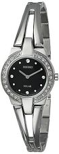 Ladies Seiko Solar Silver Stainless Steel Black Dial Swarovski Watch SUP205