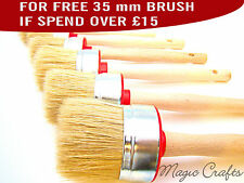 4 BRUSHES 35 30 25 20mm PAINT BRUSHES SHABBY CHIC CHALK PAINT WAX PURE BRISTLE