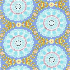 Michael Miller Dahlia Medalion on Blue Cotton Fabric