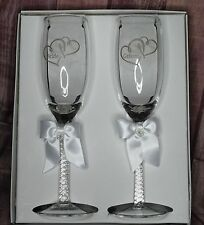 Wedding Toasting Glasses Silver Hearts, Champagne Glasses, Bride and Groom