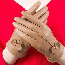 Women's Lambskin Leather Driving Gloves Lady Winter Warm Mittens With Bow Party