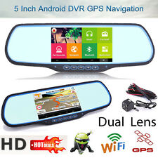 "Android WiFi Dual Lens 5"" HD 1080P Car DVR GPS Navi Rearview Mirror Dash Camera"