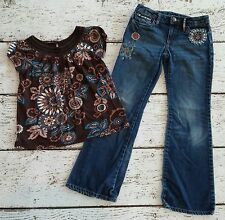 """GAP KIDS Girls """"Corsica"""" Brown Floral Top and Embroidered Jeans 8 EUC"""