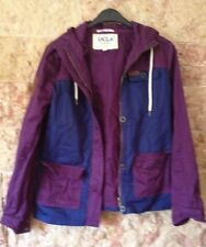 Veste Imperméable Bleu Et Violet Taille 38 Capuche Et Poche Taille 10 Us